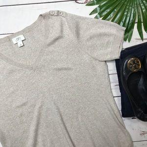 {Loft} sz XL tan short sleeve v neck sweater
